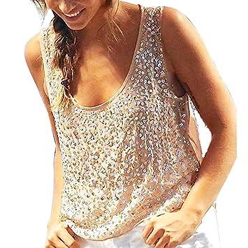 56fc2b6065a36f Amazon.com: NUWFOR Fashion Women Summer Vest Sleeveless V-Neck Sequin  Casual Tank Tops T-Shirt(Beige,S US (0-2)): Beauty