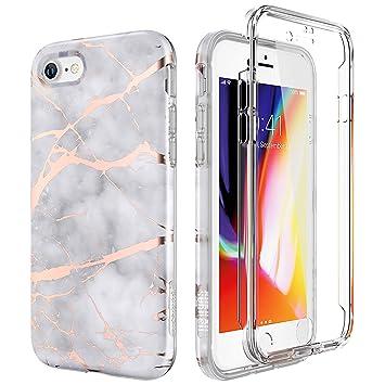 SURITCH Compatible con Funda iPhone 7/8 Silicona 360 Grados Marmol Ultra Fina Bumper Flexible TPU Elegante Delantera y Trasera Irrompible Anti Choque ...