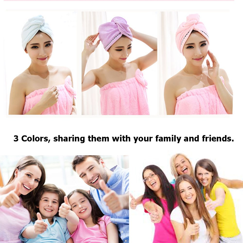 3 Pack Microfiber Hair Towel Wrap BEoffer Super Absorbent Twist Turban Fast Drying Hair Caps with Buttons Bath Loop Fasten Salon Dry Hair Hat Pink Blue Purple by BEoffer (Image #7)