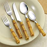 26Pc Service for 4 Bamboo Look Flatware Set Incl Bonus Steak Knives Salad Set