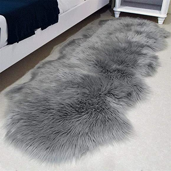 QHWLKJ Faux Sheepskin Fur Rug Soft Fluffy Carpets Chair Couch Cover Seat Area Rugs for Bedroom Sofa Floor Living Room 2 x 5.3, Gray