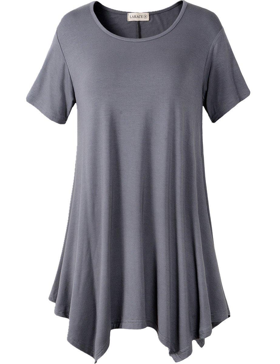 LARACE Womens Swing Tunic Tops Loose Fit Comfy Flattering T Shirt (XL, Deep Gray)