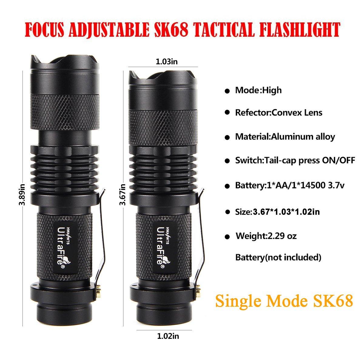 3 Pack UltraFire Mini Flashlights Focus Adjustable SK68 Single Mode Tactical LED Flashlight, Ultra Bright 300 Lumens Torch by ULTRAFIRE (Image #3)