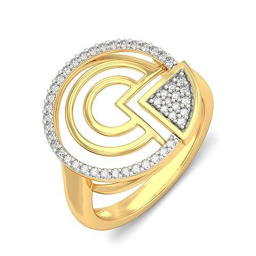 14 K Amarillo Oro (Hallmarked), boda y anillo de compromiso de diamantes de