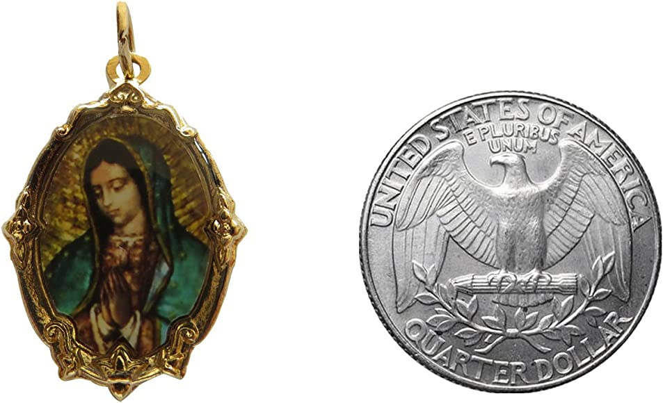 14k Gold Plated Spanish Prayer Locket with Virgin de Guadalupe Picture Pendant