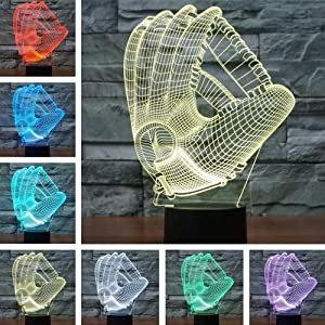 Fding Night Light Baseball Glove 3D Night Light Beside Lamp Help Kids Fell Safe at Night 7 Colors Change Decor for Kids Great Toy Gift Idea for Kids (Baseball Glove)