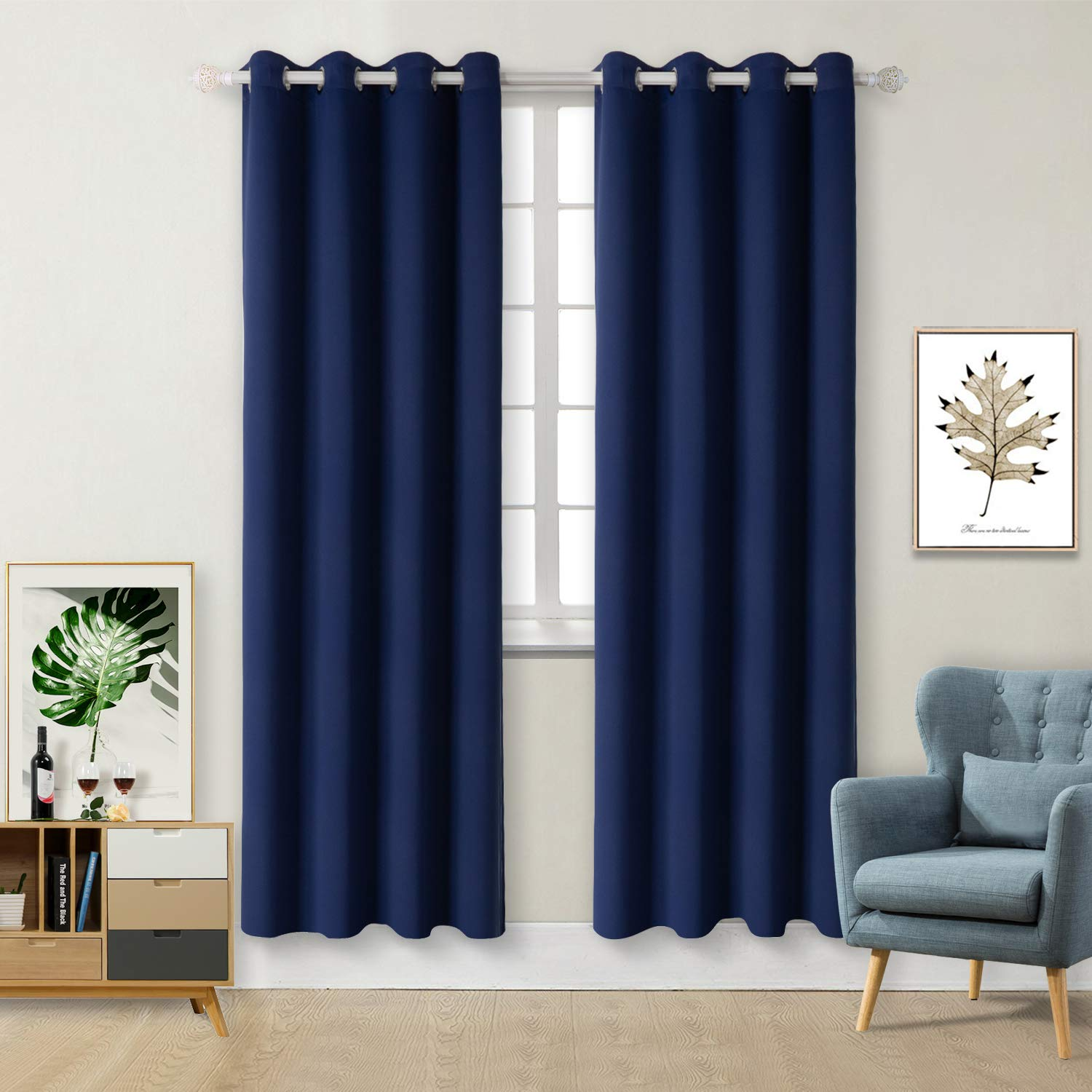 BGment Blackout Curtains for Living Room - Grommet Thermal Insulated Room Darkening Curtains for Bedroom, Set of 2 Panels (52 x 84 Inch, Navy Blue) by BGment