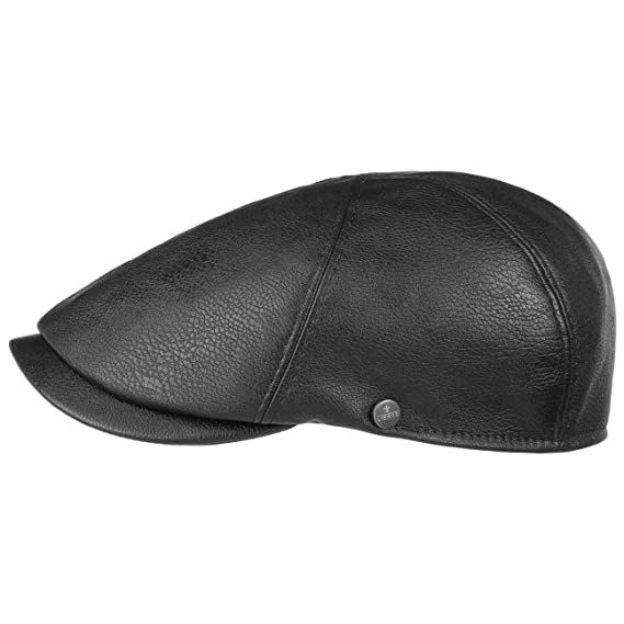 f87b4420b Lierys 6 Panel Faux Leather Flat Cap Men´s: Amazon.co.uk: Clothing