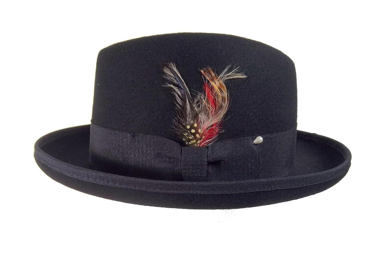 7424719c8 Homburg Wool Felt Men's Black Hat Godfather Hat Gangster 22871