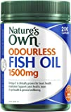 Nature's Own Odourless Fish Oil 1500mg - Source of Omega-3 - Maintains Wellbeing - Supports Healthy Heart and Brain, 200 Capsules