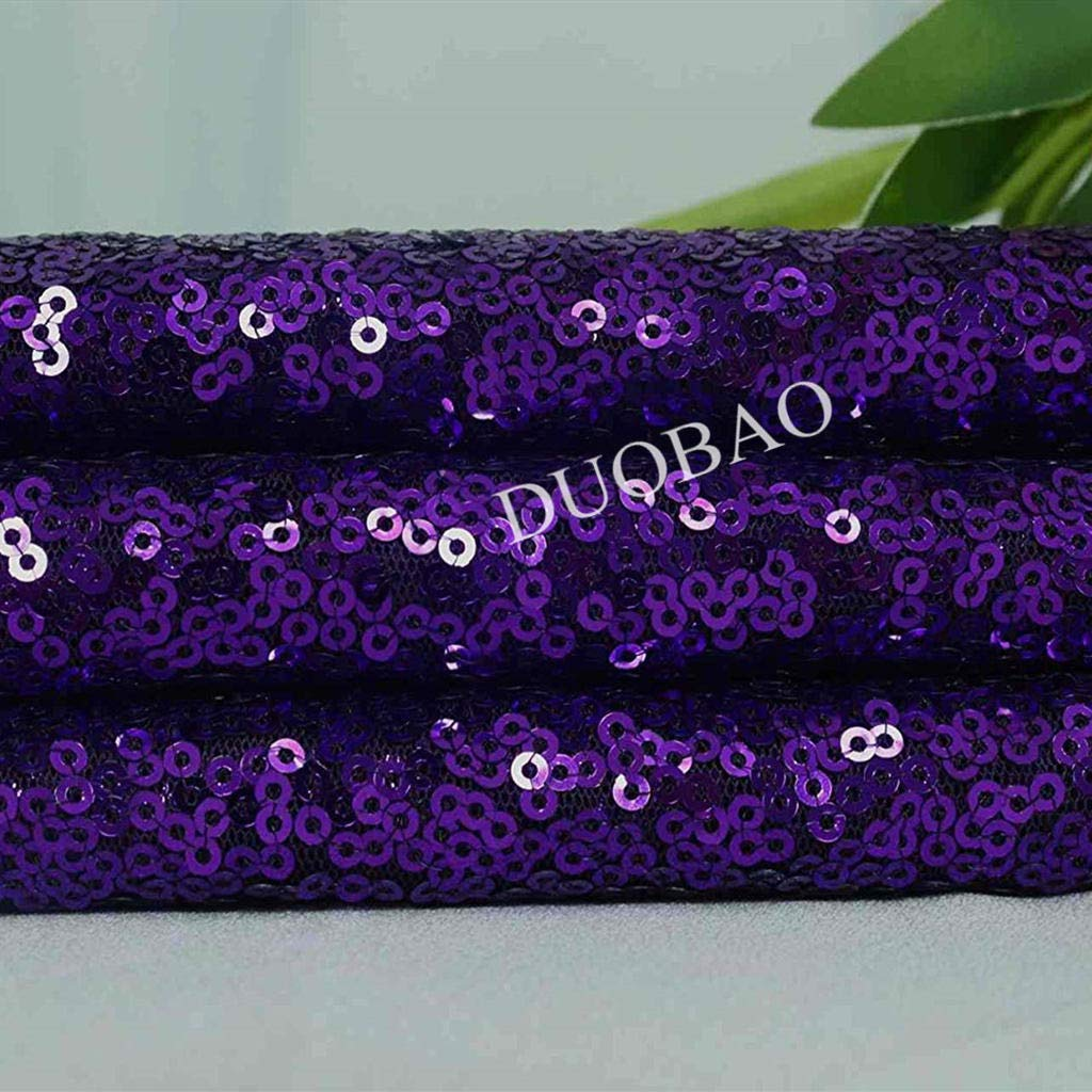 DUOBAO Purple Sequin Fabric for Sewing Glitter Backdrop Purple 10 Yards Sequin Material Fabric 2 Way Stretch Sequin Fabric by The Yard