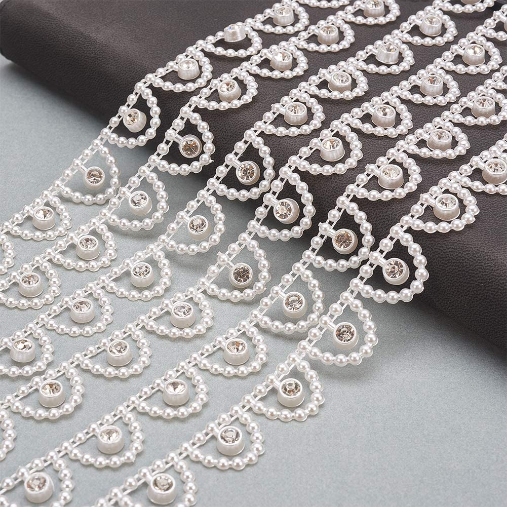 PH PandaHall 10 Yards ABS Plastic Imitation Pearl and Rhinestone Chain Pearl Bead String for Wedding Party Decoration Sewing Trims Cake Decoration Creamy White