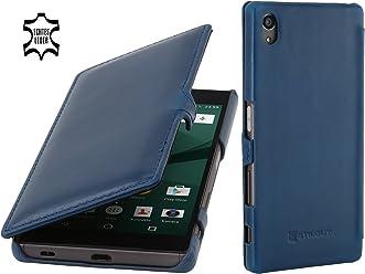 StilGut Book Type Case con Clip, Custodia in Pelle per Sony Xperia Z5 & Sony Xperia Z5 Dual, Blu Notte