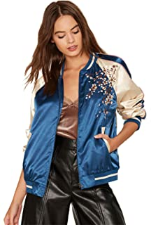 Floral Embroidery Embroidered Zippered Zipper Front Zip Up Satin Baseball Bomber Aviator Flight Jacket Top Blue