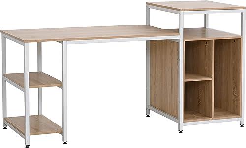 HOMCOM 68 Inch Office Table Computer Desk Workstation Bookshelf - a good cheap modern office desk