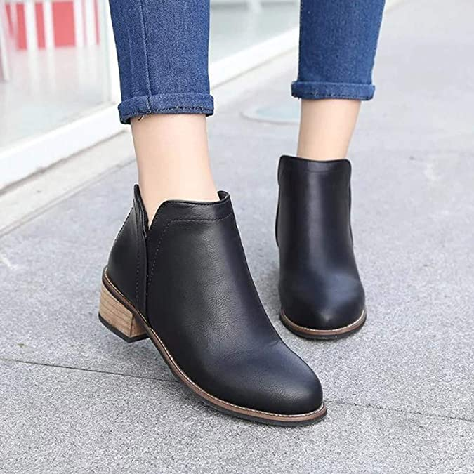 Amazon.com | Seaintheson Fashion Women Boots, Ladies Classic Slip on Ankle Boots Scrub Thick Heel Boots Flat Shoes | Shoes