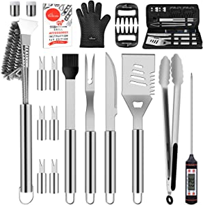 HOMENOTE Grill Accessories, 20Pcs Stainless Steel BBQ Grilling Tools Set Grill Utensils with Heavy Duty Brush, Meat Claw Thermometer for Smoker, Camping, Kitchen, Perfect Grill Gift for Men Women