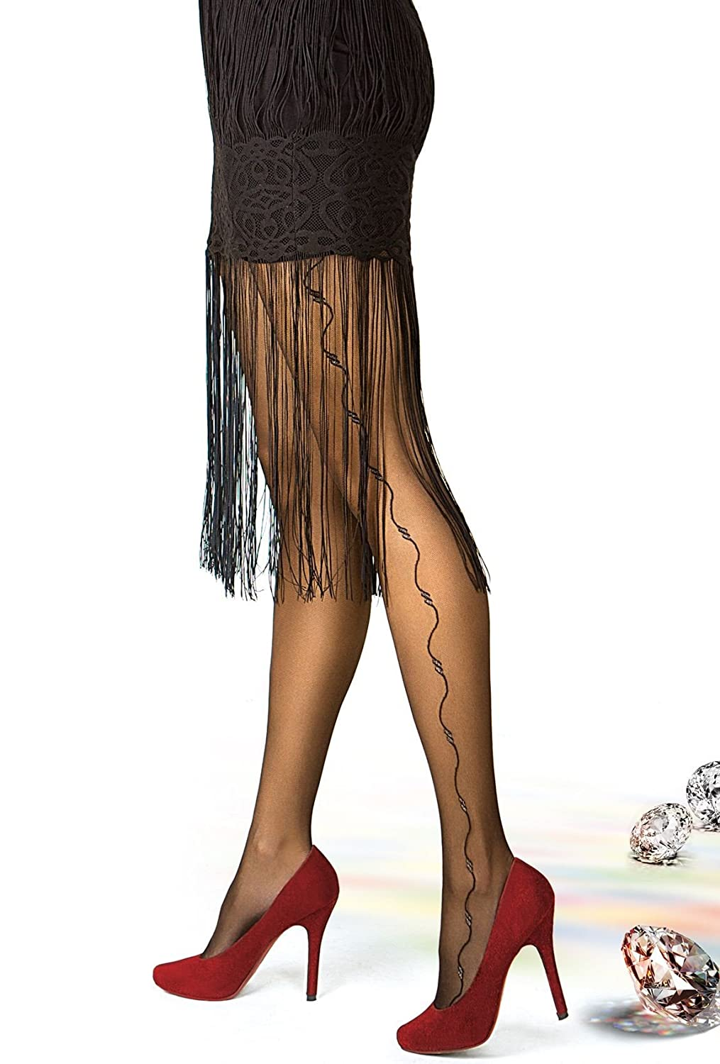 d76c12028622e Sheer Patterned Black Tights Pantyhose Hosiery for Women 😍 Gatta RONNA 26  [Made in Europe] at Amazon Women's Clothing store: