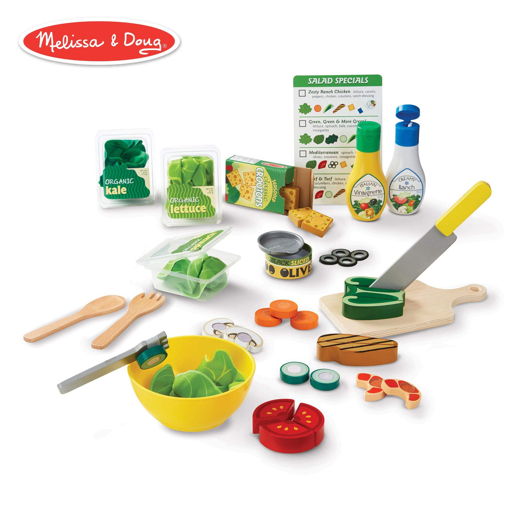 Melissa & Doug Slice & Toss Salad Set (Pretend Play, Self-Stick Tabs, Reusable Double-Sided Menu, 52 Pieces, 12″ H × 16″ W × 3.5″ L)
