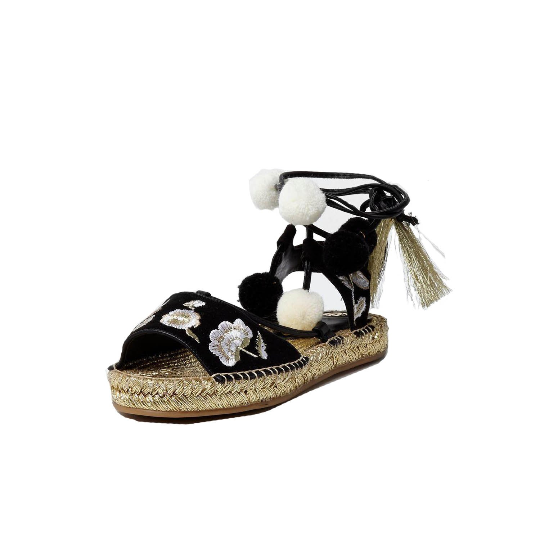 488488727e7 River Island EX Rosa Pom Pom Embroidered Black Gold Sandal ...