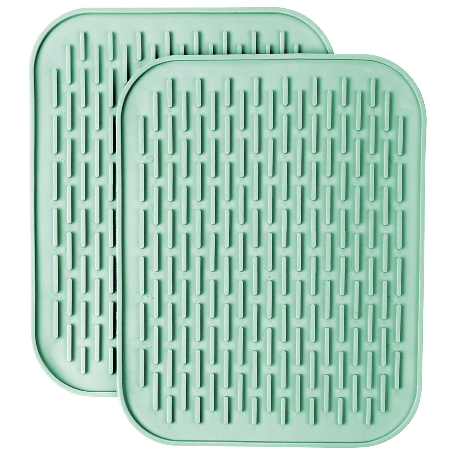 """Getfitsoo Pack of 2 Large Silicone Pot Holder Set 11.8"""" x 8.7"""", Heat Resistant Kitchen Tray Table Place Mat, Non-Slip Soft Flexible Silicone Trivets Coaster Hot Pads Drying Mat Draining Board (Grey)"""