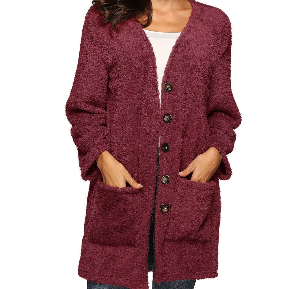 S.Charma 100/% Wool Loose Sweatshirts Womens Warm Cardigan Sweater with Pocket