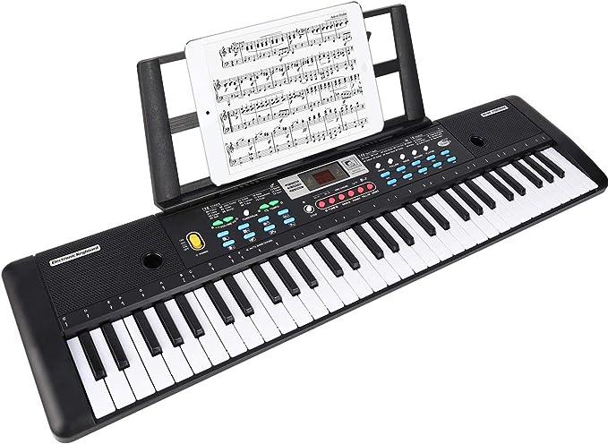WOSTOO Teclado Electrónico Piano 61 Teclas, Teclado de Piano Portátil Con Atril, Micrófono, Fuente de Alimentación, Multifuncional Digital Música ...