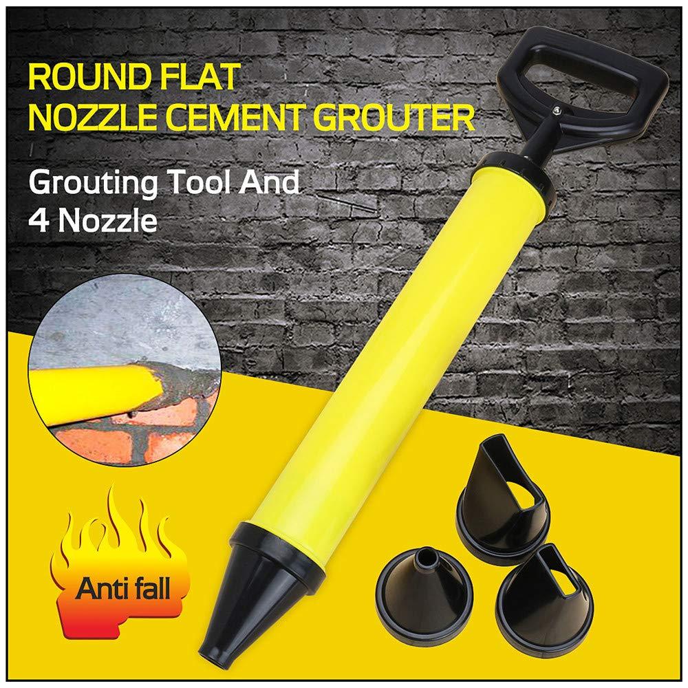 4-en-un Coulis de Ciment Ciment /épais en Plastique en Acier Inoxydable Pistolet Mortier Calfeutrer /à T/ête Ronde /à T/ête Plate 4-en-1 Coulis de Ciment 4 Disponible Nozzles