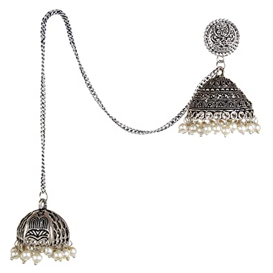 440852637 Buy Saissa Oxidized Beaded Dual Kashmiri Jhumka Jhumki Earrings for Girls  and Women 1641 Online at Low Prices in India | Amazon Jewellery Store -  Amazon.in