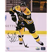 """$55 » Brad Marchand Boston Bruins Autographed 8"""" x 10"""" Black Jersey Skating Photograph - Fanatics Authentic Certified"""