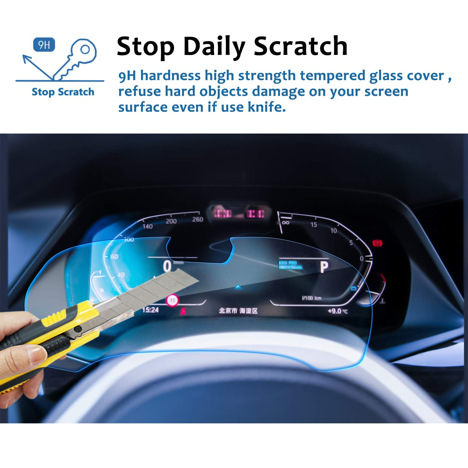LFOTPP Instrument Panel Tempered Glass Screen Protector for 2019 X5 G05,Dash Panel Screen,Anti Scratch High Clarity LiFan