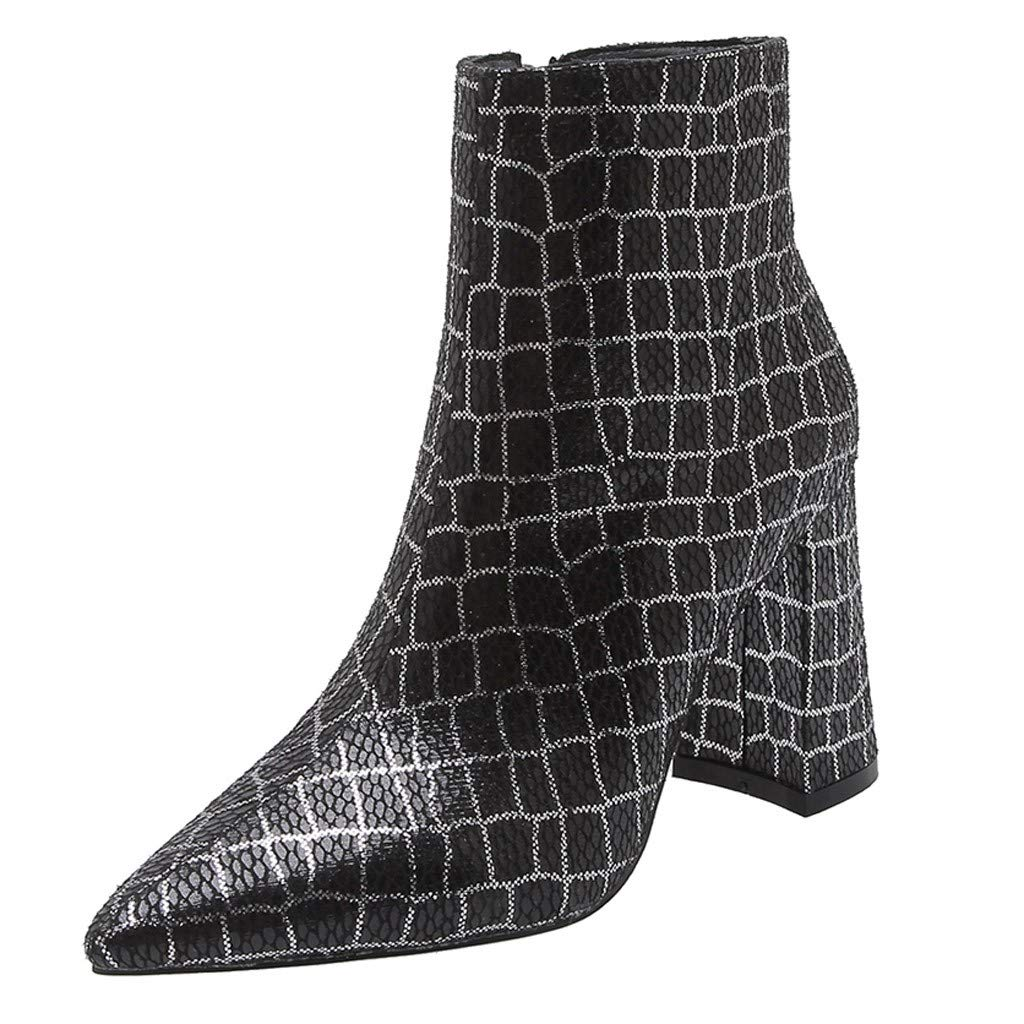 Kauneus Women's Boots Pointed Toe Ankle Bootie Plaid Print Chunky Heels Winter Boots Black