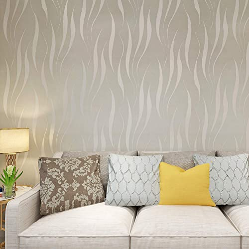 HANMERO® Modern Minimalist Non Woven Water Plant Pattern 3D Flocking  Embossed Wallpaper Roll For