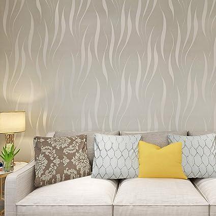 1020d041f55 HANMERO® Papel pintado extra grueso, no tejido, flocado, 3D diseño, gris