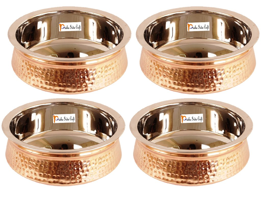 Set of 4 Prisha India Craft ® High Quality Handmade Steel Copper Casserole and Serving Spoon - Set of Copper Handi and Serving Spoon - Copper Bowl Dia - 5.00'' X Height - 2.00'' - Christmas Gift by Prisha India Craft (Image #2)