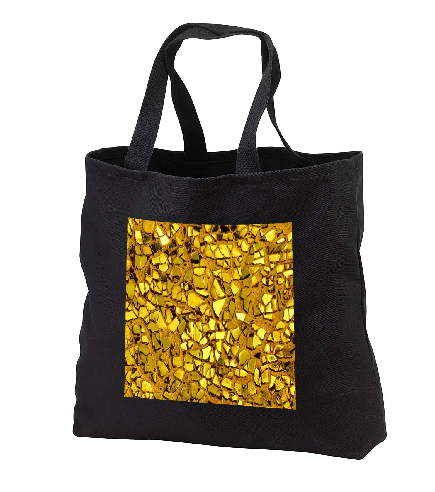 Lens Art by Florene - Everything Gold - Image of Closeup Of Broken Gold Glass Mosaic - Tote Bags - Black Tote Bag JUMBO 20w x 15h x 5d (tb_291029_3)