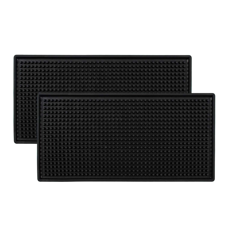 Tebery Black Mat 12'' x 6'' Rubber Bar Service Spill Mat (2 Pack) by Tebery