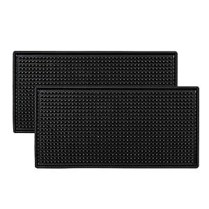 """Tebery Black Mat 12"""" x 6"""" Rubber Bar Service Spill Mat (2 Pack)"""