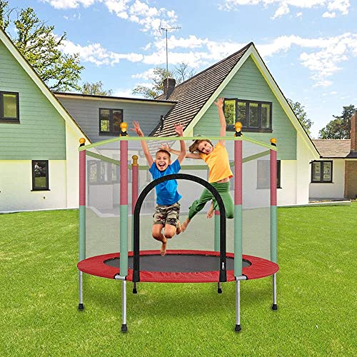 Bouanq 5ft Kids Trampoline with Safety Enclosure Net Spring Pad, 442 lbs Powerful Loading Capacity All-in-one Combo Set – Indoor Outdoor Heavy Duty Frame