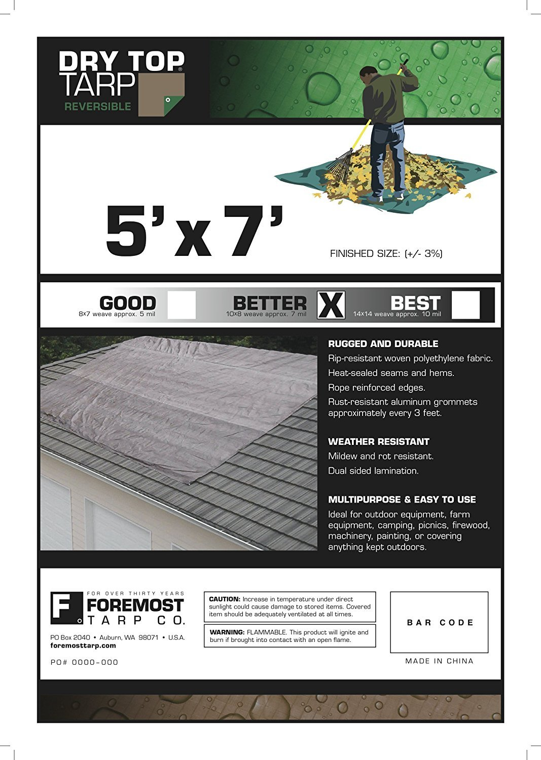 Foremost Dry Top 10057 5 x 7 Brown//Green Reversible Full Size 7-mil Poly Tarp Pack of 2 MKP