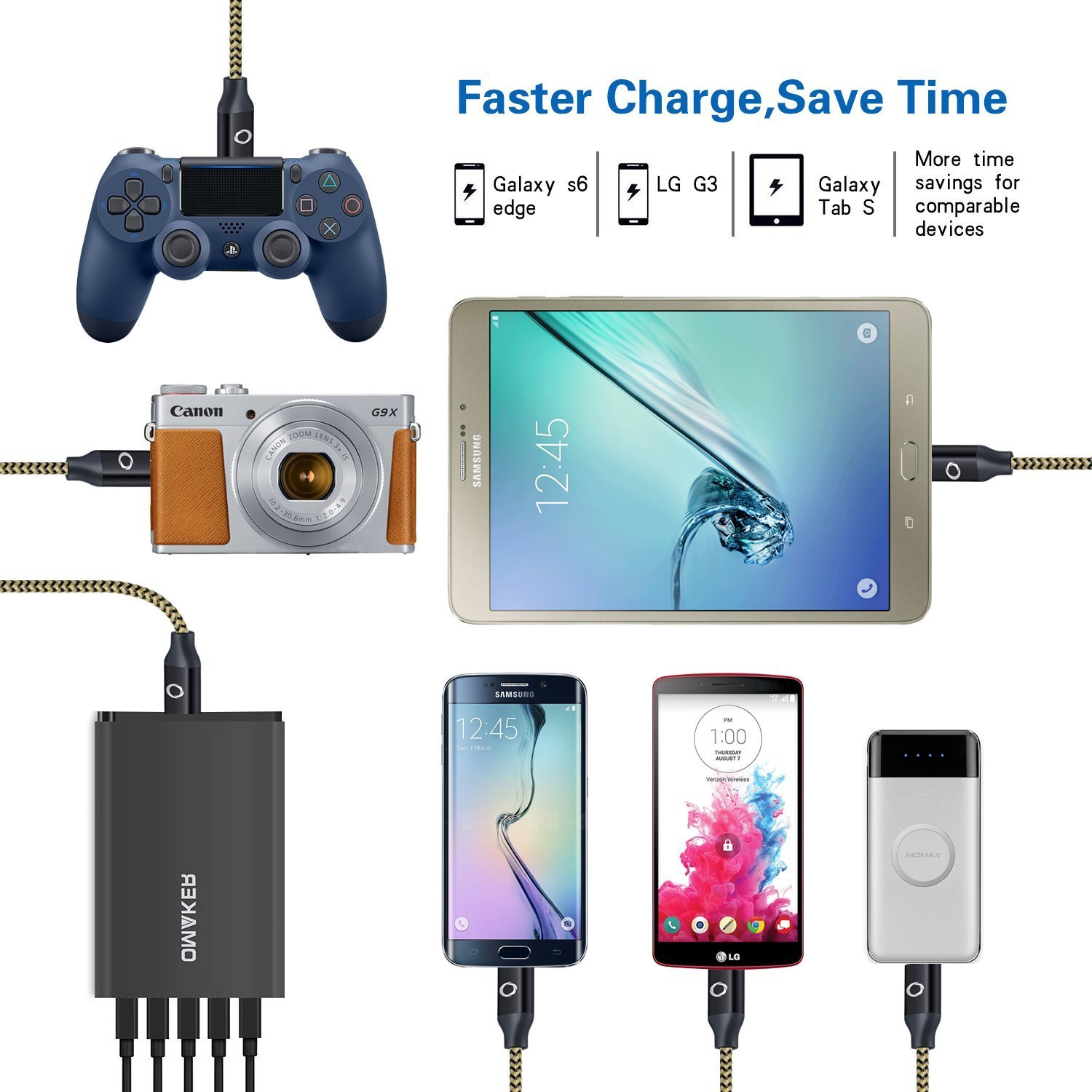 Nokia Sony OKRAY 3 Pack 10ft // 3m Durable Nylon Braided Tangle-Free Micro 2.0 USB Charging Cable Charge Cord with Aluminum Connectors Compatible for Android Nexus Samsung Black Blue Purple LYSB01DTTK4RM-ELECTRNCS HTC