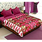 Story@Home Coral Collection Soft Printed Fleece Polyester Double Bed Blanket - Brown
