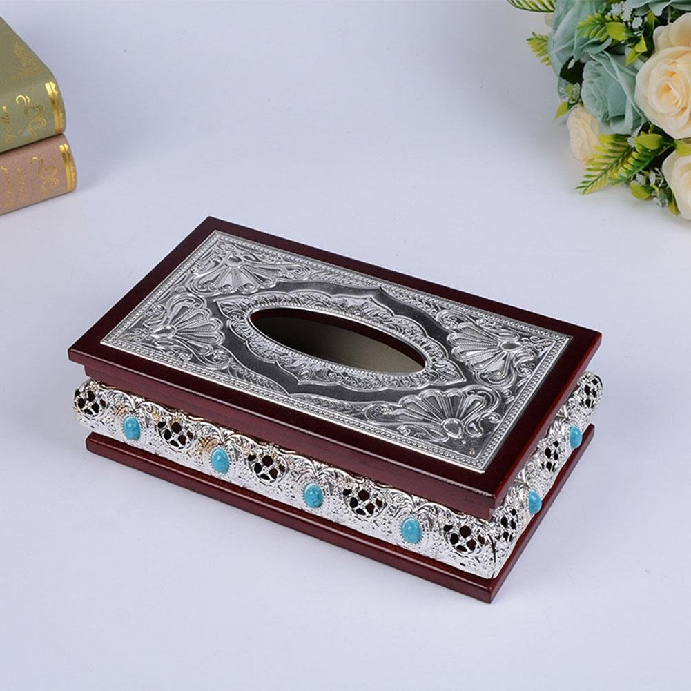 Retro Wooden Tissue Box Holder Cover for Home Office Car Decor , silver , 14.5x25.5x10cm