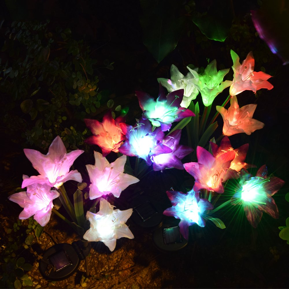 Outdoor Solar Garden Stake Lights - 2 Pack Solarmart Solar Powered Lights with 8 Lily Flower, Multi-color Changing LED Solar Stake Lights for Garden, Patio, Backyard (Purple and White) by Solarmart (Image #2)