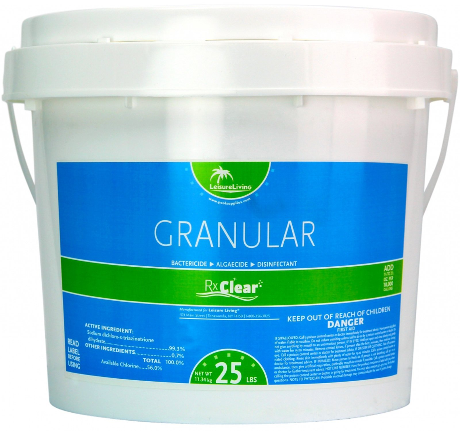 Rx Clear Stabilized Granular Chlorine | One 25-Pound Bucket | Use As Bactericide, Algaecide, and Disinfectant in Swimming Pools and Spas | Slow Dissolving and UV Protected by Rx Clear