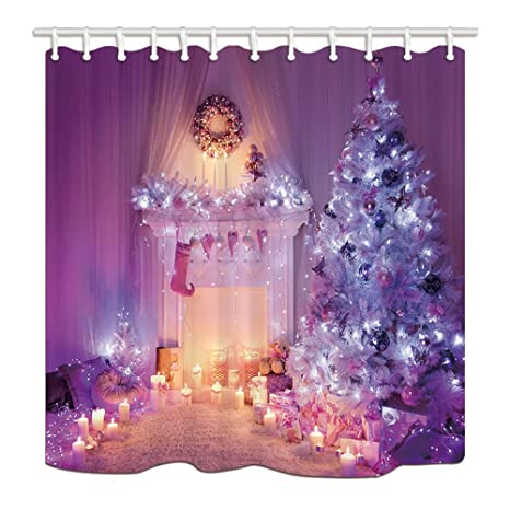 HiSoho Christmas Shower Curtains For Bathroom Xmas Tree And Fireplace Full With Lights Sock