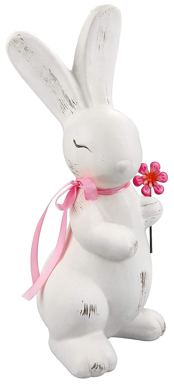 01 pi/èce - Lapin en c/éramique com-four/® Pot en c/éramique d/éco /à Choisir Adorable Lapin de P/âques avec Fleur et Ruban Rose