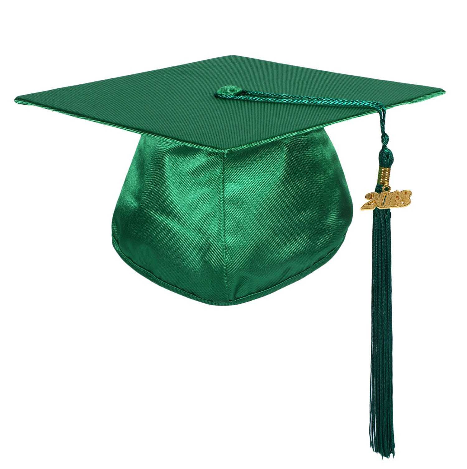 GraduationService Unisex Graduation Shiny Cap with Tassel Year Charm 2018 for Adults