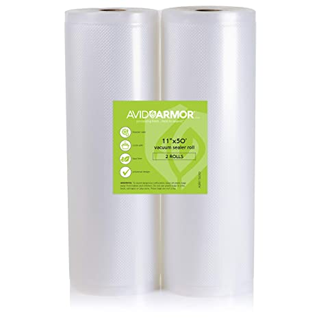 2 Pack 11x50 Rolls Vacuum Sealer Bags for Food Saver, Seal a Meal Vac Sealers Heavy Duty Commercial, BPA Free, Sous Vide Vaccume Safe, Cut to Size ...
