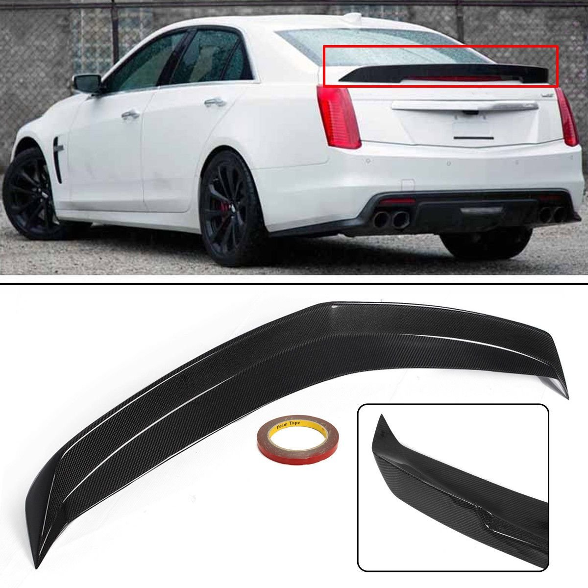 ProooAuto Carbon Fiber Rear Trunk Spoiler Wing Lip Fit for 16-Up Cadillac CTS-V